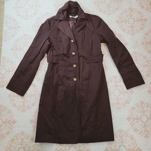 🤎Michael Kors Dark Brown Long Button Up Trench
